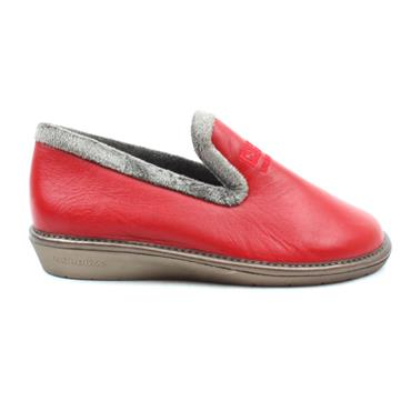 NORDIKA 305LEATHER SLIPPER - RED GREY