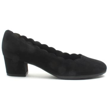 GABOR 32211 SCALLOPED COURT SHOE - BLACK SUEDE