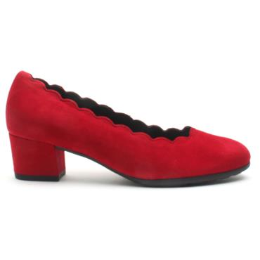 GABOR 32211 SCALLOPED COURT SHOE - RED SUEDE