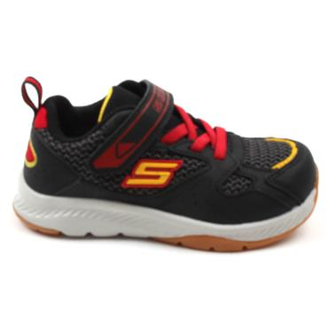 SKECHERS 400047 VELCRO RUNNER - BLACK/RED