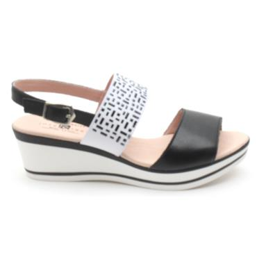 JOSE SAENZ WEDGE SANDAL 4004 - BLACK/WHITE
