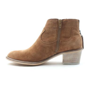 ALPE 4011 BLOCK HEEL BOOT - TAN/SUEDE