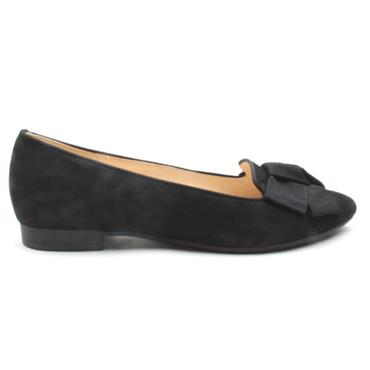 GABOR 41301 BOW FLAT SHOE - Black