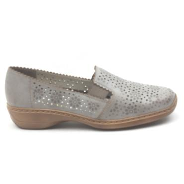 RIEKER 413Q5 SLIP ON SHOE - TAUPE