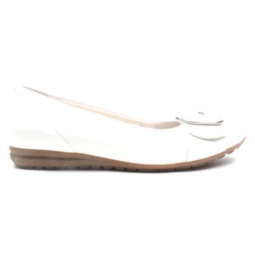 GABOR 42625 BUCKLE FLAT POMP - WHITE