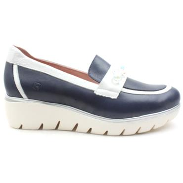 JOSE SAENZ WEDGE SHOE 4306C - NAVY/WHITE