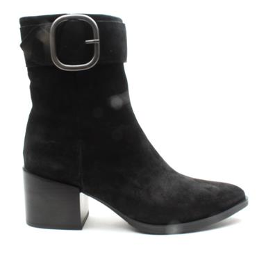 ALPE 4353 BUCKLE ANKLE BOOT - BLACK SUEDE