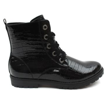 SOLIVER 45220 LACED BOOT - BLACK PATENT