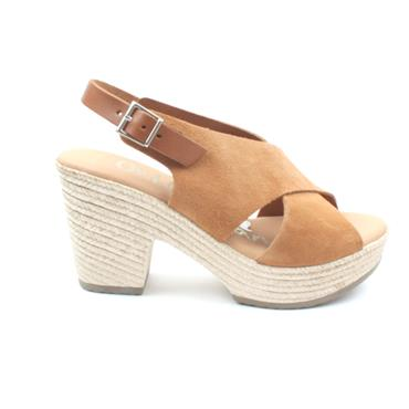 OH MY SANDAL 4605 WEDGE HEEL SANDAL - TAN