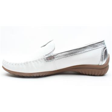 GABOR 46090 LOW LOAFER - WHITE SILVER