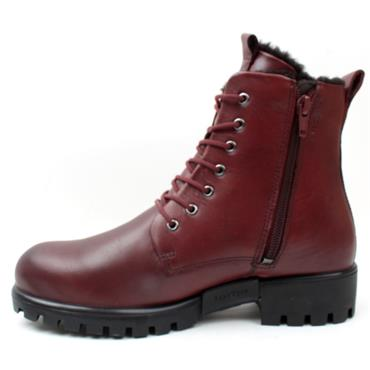 ECCO 490053 LACED BOOT - BURGUNDY