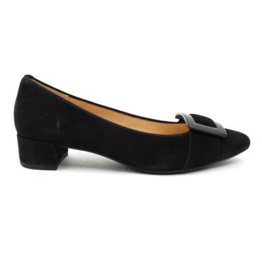 GABOR 51434 LOW HEEL SHOE - BLACK SUEDE