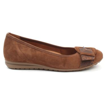 GABOR 52626 POMP SHOE - BROWN SUEDE