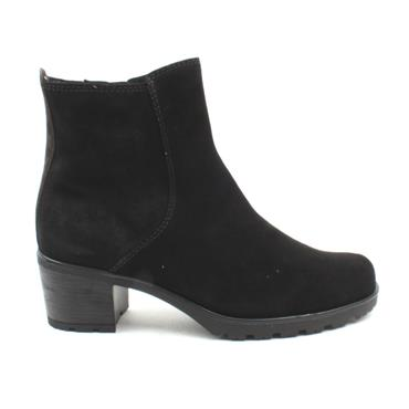 GABOR LOW HEEL BOOT 52800 - BLACK SUEDE