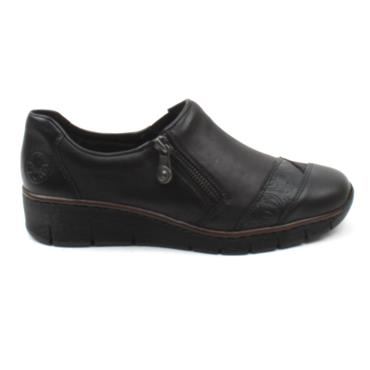 RIEKER 53761 ZIP FLAT SHOE - Black