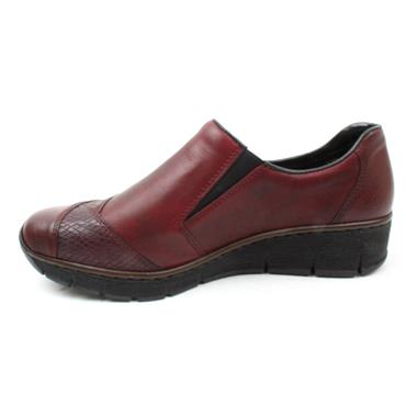 RIEKER 53761 ZIP FLAT SHOE - BURGUNDY