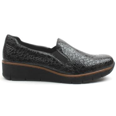 RIEKER 53766 SLIP ON SHOE - GREY PATENT