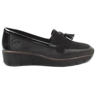 RIEKER 53771 SLIP ON SHOE - BLACK/BLACK
