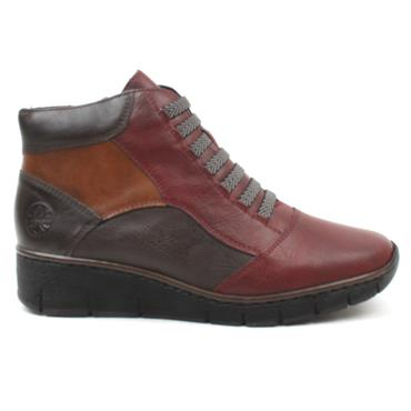 RIEKER 53774 LACED BOOT - BURGUNDY