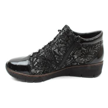 RIEKER 53778 LACED ANKLE BOOT - BLACK/BLACK