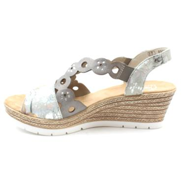 RIEKER 619D6 WEDGE SANDAL - GREY MULTI