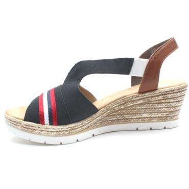 RIEKER 619S6 WEDGE SANDAL - NAVY MULTI