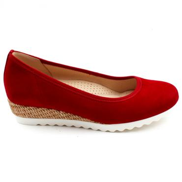 GABOR 62641 WEDGE POMP - RED SUEDE