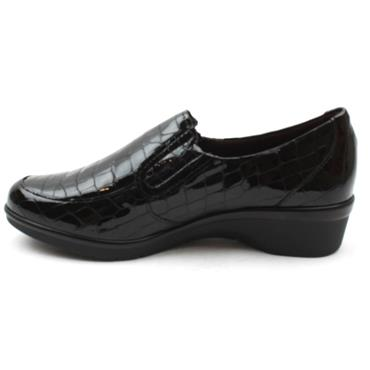 PITILLOS 6312 WEDGE SHOE - BLACK PATENT