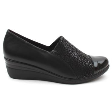 PITILLOS 6320 WEDGE SHOE - BLACK PATENT