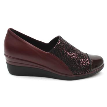 PITILLOS 6320 WEDGE SHOE - BURGUNDY PATENT