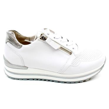 GABOR 66528 LACED SHOE - WHITE SILVER