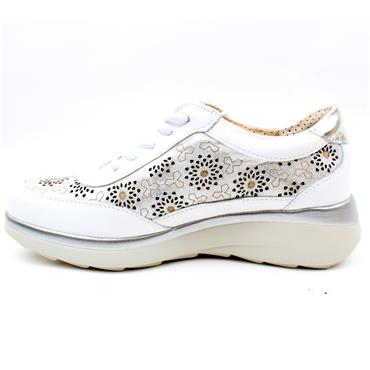 PITILLOS 6690 WEDGE LACED SHOE - WHITE MULTI