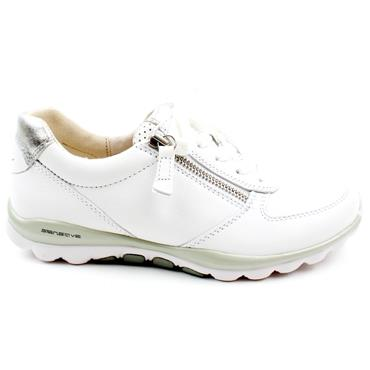 GABOR 66968 LACED SHOE - WHITE SILVER