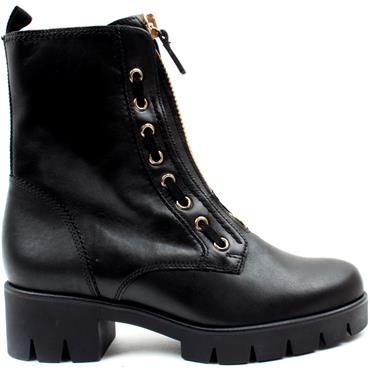 GABOR 71716 LACED BOOT - BLACK LEATHER