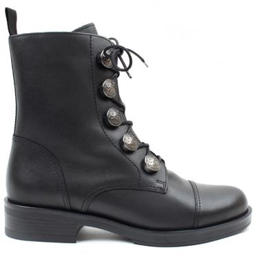 GABOR 71796 LACED BOOT - BLACK LEATHER