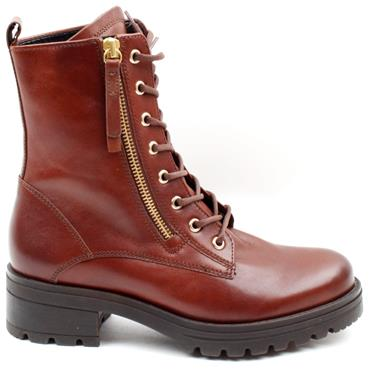 GABOR 72785 WIDE FIT LACED BOOT - TAN LEATHER