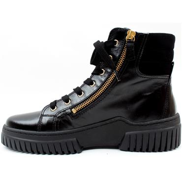 GABOR 73761 LACED BOOT - BLACK LEATHER