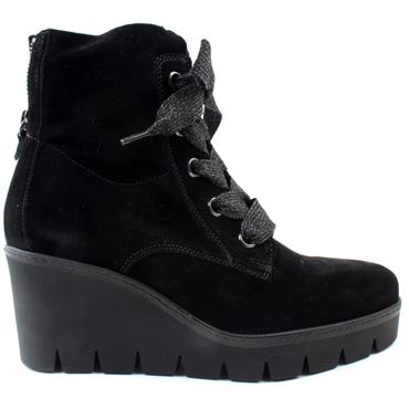 GABOR 74781 WEDGE LACED BOOT - BLACK SUEDE