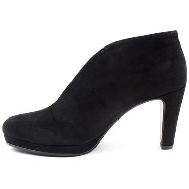 GABOR 75771 HEELED ANKLE BOOT - BLACK SUEDE
