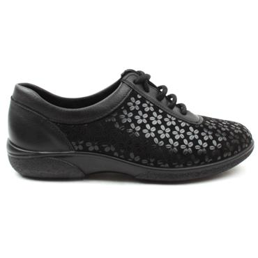 WIDE FITTING 2V WHITNEY LACED SHOE - Black