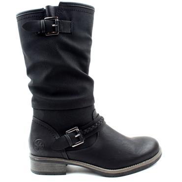 RIEKER 98860 BUCKLE BOOT - BLACK/BLACK