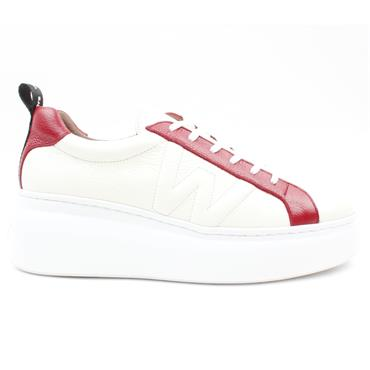 WONDERS A2603 LACED SHOE - WHITE RED