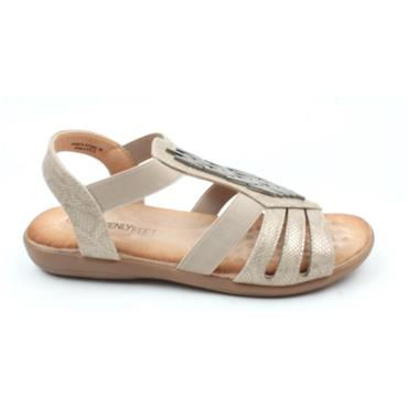 HEAVENLY FEET AGNETA FLAT SANDAL - STONE