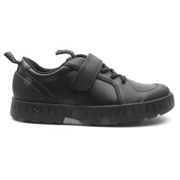 CLARKS APOLLO STEP  K VELCRO SHOE - BLACK F