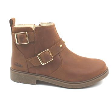 CLARKS ASTROL TRIM JUNIOR ANKLE BOOT - TAN F