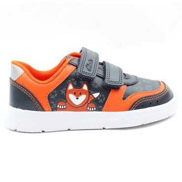 CLARKS ATH DOT T VELCRO JUNIOR SHOE - NAVY LEATHER F