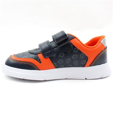 CLARKS ATH DOT T VELCRO JUNIOR SHOE - NAVY LEATHER G