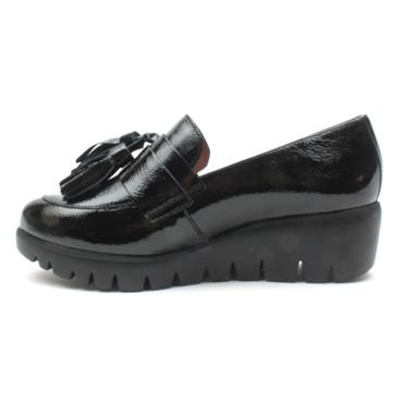 WONDERS C33174 WEDGE TOGGLE SHOE - BLACK PATENT