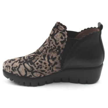 WONDERS C33222 ANKLE WEDGE BOOT - BLACK/LEOPARD