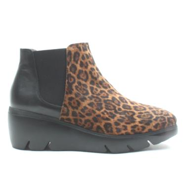 WONDERS C5331 ANKLE BOOT - BLACK/LEOPARD